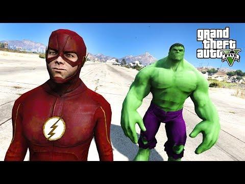 FLASH VS HULK!!! WHO WILL WIN? - GTA V Mods
