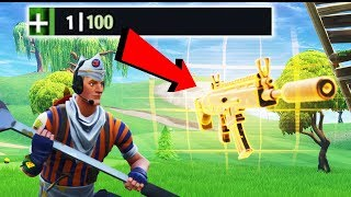 *NEW* GUN 1 HP CLUTCH WIN!!! (Fortnite Battle Royale New Weapon Gameplay)