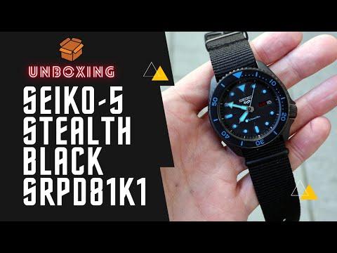 SEIKO 5 SPORTS AUTOMATIC WATCH IN BLACK SRPD81K1