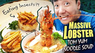 GIANT LOBSTER Tom Yum Noodle Soup, EATING INSECTS & Huamum Night Market in Bangkok Thailand