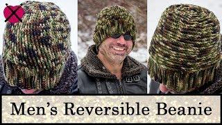 Men's Reversible Crochet Beanie | FREE Crochet Pattern Tutorial | Unisex