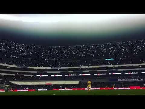 """""""La Sangre Azul (Cruz Azul) y afición haciéndose pesar en el Azteca vs Tigres."""" Barra: La Sangre Azul • Club: Cruz Azul"""