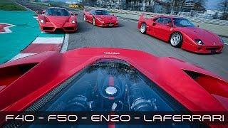 FERRARI LaFerrari vs F40 vs F50 vs Enzo | SOUND ACCELERATIONS