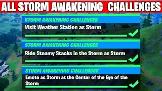 All Storm Awakening Challenges Guide Fortnite - Visit Weather Station, Ride Steamy Stacks & 1 more