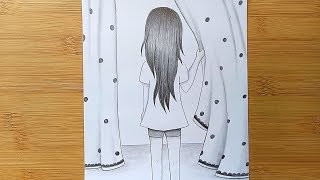 How To Draw A Girl With Pencil Sketch//Step By Step