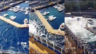 Watch Giant Cruise Ship Crush Tiny Marina