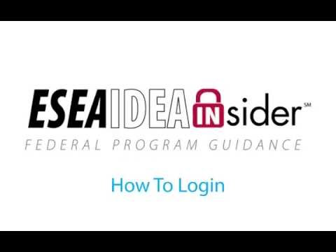 SI&A Videos | ESEA-IDEA Insider: How to Login
