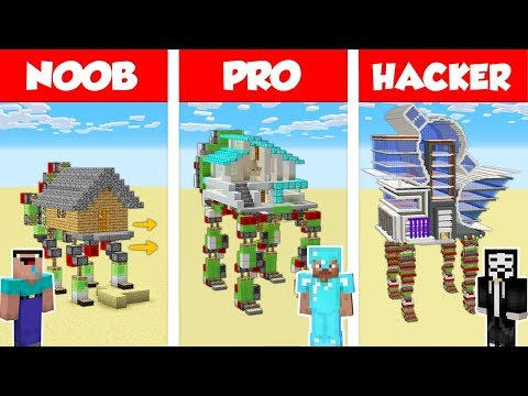Minecraft NOOB vs PRO vs HACKER: WALKING HOUSE BUILD CHALLENGE in Minecraft / Animation