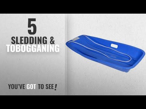 Top 10 Sledding & Tobogganing [2018]: Blue Large Plastic Snow Sledge Toboggan With Rope Winter