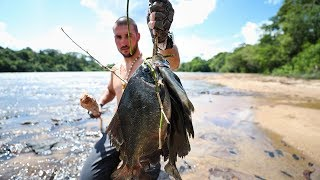 Primal SpearFishing For Giant Piranha in Rapids!! (EP.3)