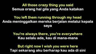 Avril Lavigne - Wish You Were Here (Lyric) Sub Indonesia