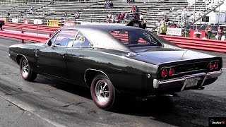 1968 Dodge Charger R/T vs 1965 GTO Tri-Power 1/4 mile Drag Race - Road Test TV