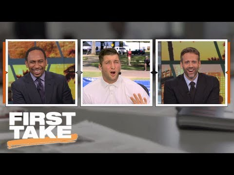 Tim Tebow tells Stephen A. Smith to 'calm down' during college football preview   First Take   ESPN