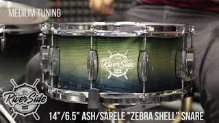 "14""/6.5"" Riverside ash/sapele ""Zebra shell"" snare drum in medium tuning"