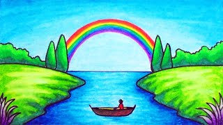 How To Draw Easy Scenery   Drawing Rainbow On The River Scenery Step By Step With Oil Pastels