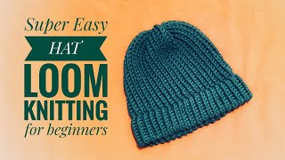How to loom knit a hat (super easy for beginners) DIY TUTORIAL