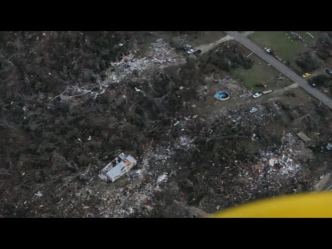 An aerial view from Lee County, Alabama shows some of the destruction from the deadly tornado that struck the area on Sunday. At least 23 people are known dead, including three children. (March 5)