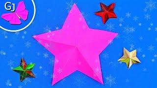 Пятиугольная ОРИГАМИ ЗВЕЗДА из бумаги ❄ Поделки на Новый Год