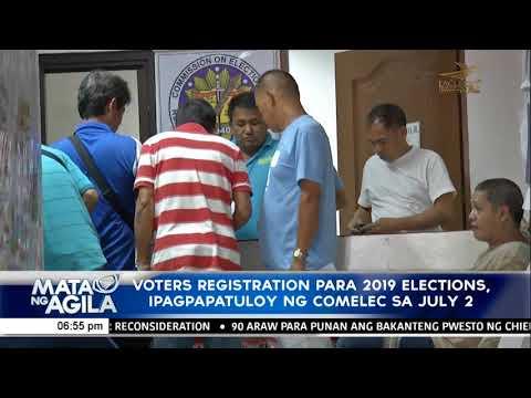 [EagleNewsPH]  Voters registration para 2019 elections, ipagpapatuloy ng comelec sa july 2
