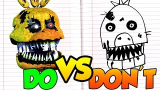 DOs & DON'Ts Drawing Five Nights At Freddy's Nightmare Chica In 1 Minute CHALLENGE!