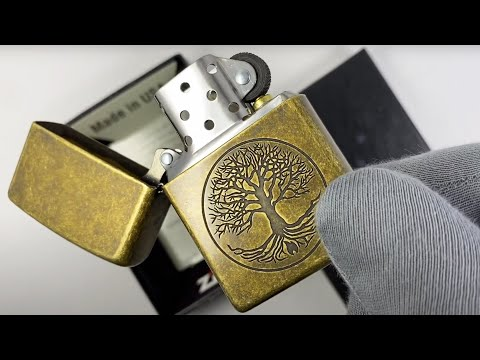 29149 Зажигалка Zippo Tree of Life, Antique Brass