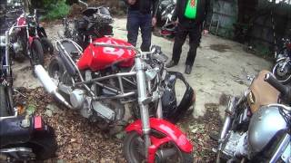 Bike graveyard (with the corpse of a Ducati Monster)