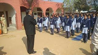 Funtastic execution of daily morning assembly demonstrated by Mr Harichand HSE II at GSSS, Dhirana