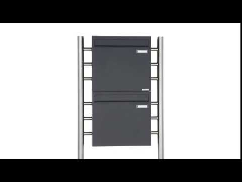 Standbriefkasten als Zaunbriefkasten in Anthrazitgrau Design BASIC 381Z-7016 - Entnahme rückseitig