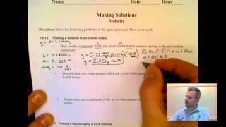 Making Solutions Worksheet Examples Badger High School Chemistry