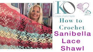 How To Crochet Sanibella Beaded Shawl Lace Top Down Right Hand Beginner Slow