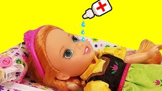 RUNNY NOSE ! Elsa & Anna toddlers - Little Anna is Sick - Afraid of Nose Drops - Sneezing