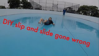 DIY roller skating rink slip and slide in the rain *(GONE WRONG)*