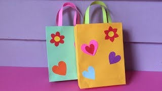How To Make Bag With Color Paper   DIY Paper Bags Making