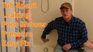 Shower not getting pressure. Shower diverter on bathtub spout, repair replace.