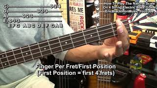 How To Play The Natural Scale On 4 String Electric Bass Guitar EricBlackmonGuitar