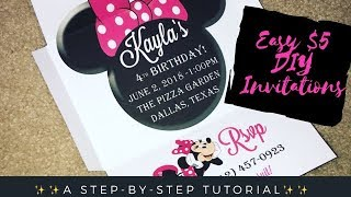 DIY Minnie Mouse Invitations!!! Easy & Cheap!