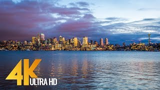 4K UHD Seattle Cityscape With City Sounds | City Life Footage. Seattle The Emerald City - 2 HRS