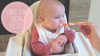 BABY STARTS SOLIDS AT 4 MONTHS OLD!
