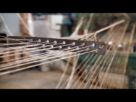 Making a four strand rope of tarred hemp [old school way]