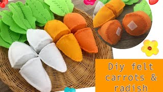 Felt Food Series 1# Cut Carrots And Radish Tutorials