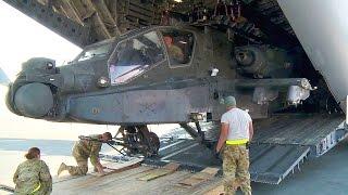 Unloading AH-64 Apache Helicopters from C-17 Globemaster III
