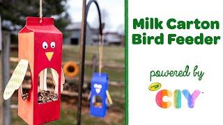 Milk Carton Bird Feeder Craft, DIY Upcycled Earth Day Craft    Crayola CIY