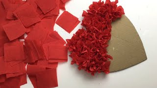 Crepe Paper Puffy Heart Valentines Window Decorations Easy Craft /Diyvalentinesday/best Out Ofwaste