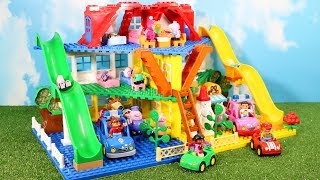 Peppa Pig House Construction Sets - Lego Duplo House With Water Slide Creations Toys For Kids #5