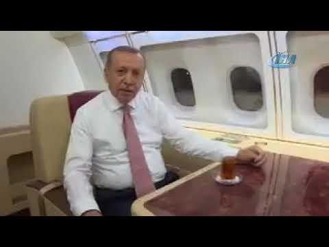 Erdoğan'dan yurda dönüş yolunda Ramazan mesajı (видео)