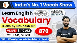 8:40 AM - English Vocabulary | Learn English Vocabulary Tricks with Bhunesh Sir | Day #870
