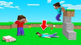 FALL DAMAGE = FLAT In Minecraft! (hilarious)