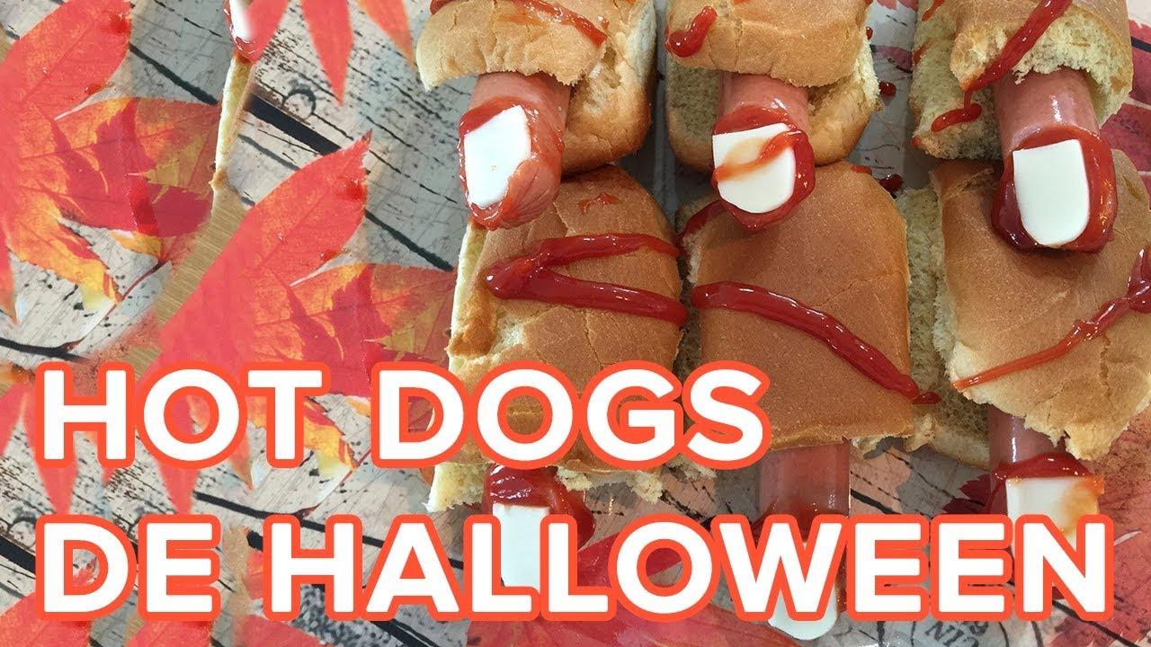 Hot Dogs de dedos sangrientos. Recetas de Halloween para niños