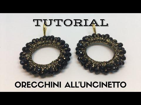 Orecchini Cerchi Blù Alluncinetto Facilieasy Crochet Earrings