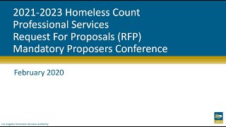 2021-2023 Homeless Count Professional Services RFP: Mandatory Proposers Conference